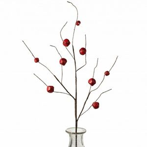 "Red Jingle Bell Curly Twig 30"" Spray"